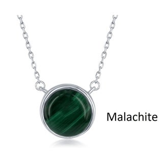 "La Preciosa Sterling Silver Round Bead Natural Malachite Stone Pendant 17.5"" Necklace"