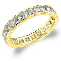 Amore 10K Yellow Gold 1.5 CTTW Eternity Diamond Wedding Ring - White I-J