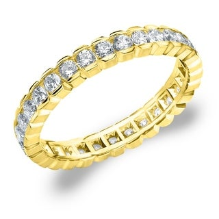 Amore 10K Yellow Gold 1.0 CTTW Eternity Diamond Wedding Ring - White I-J