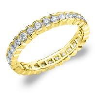 Amore 10K Yellow Gold 1.0 CTTW Eternity Diamond Wedding Ring - White I-J