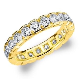 Amore 10K Yellow Gold 2.0 CTTW Eternity Diamond Wedding Ring - White I-J