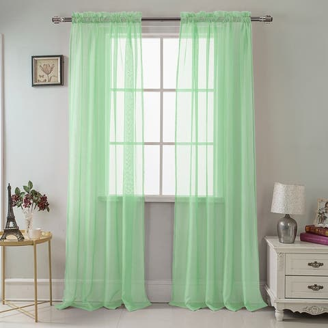 RT Designer Collection Celine Sheer 90-inch Rod Pocket Curtain Panel