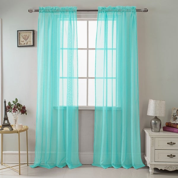 RT Designer Collection Celine Sheer 90-inch Rod Pocket Curtain Panel. Opens flyout.