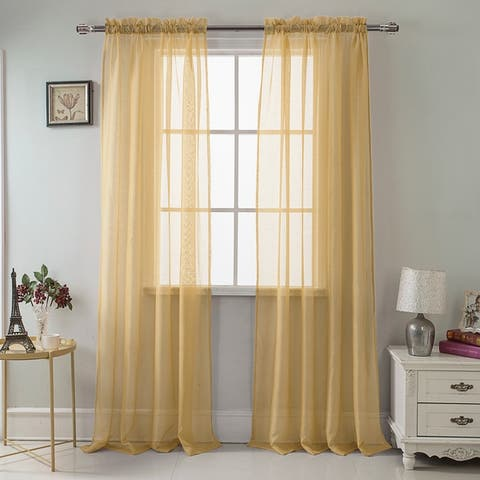RT Designer Collection Celine Sheer 90-inch Rod Pocket Curtain Panel