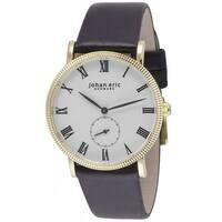 Johan Eric Men's Swiss Quartz Gold tone Brown Leather Strap Watch