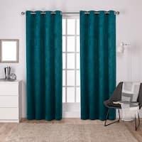 Porch & Den Goose Alley Antique Faux Silk Blackout Grommet Top Curtain Panel Pair