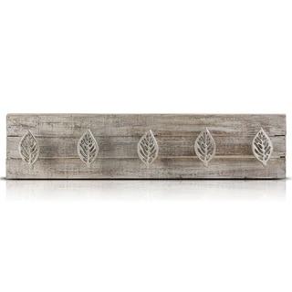 Rustic Wood Metal Wall Mounted 5 Hook Key Coat Storage Rack Farmhouse Decor
