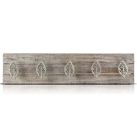 Rustic Wood Metal Wall Mounted 5 Hook Key Coat Storage Rack Farmhouse Decor