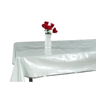 Berrnour Home Kitchen Clear Table Cover Protector White Edges Border