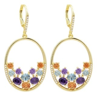 Luxiro Gold Finish Sterling Silver Lab-created Spinel with Cubic Zirconia Earrings - Blue
