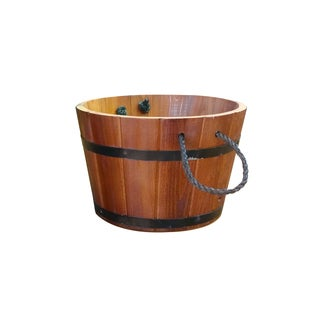 Brown Cedar/Metal Small Planter with Rope Handles