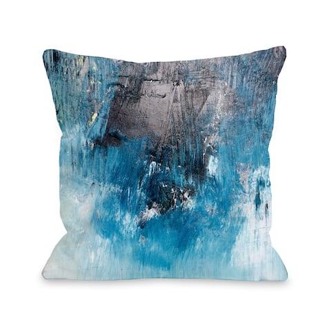 One Bella Casa Ocean Oil Painting Blue Throw Pillow
