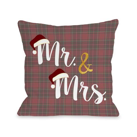 One Bella Casa OBC Mr. and Mrs. Santa Hat Plaid Red Multicolored Throw Pillow