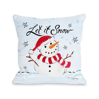 One Bella Casa Timree Gold 'Let It Snow' Snowman Multicolor Microfiber Throw Pillow