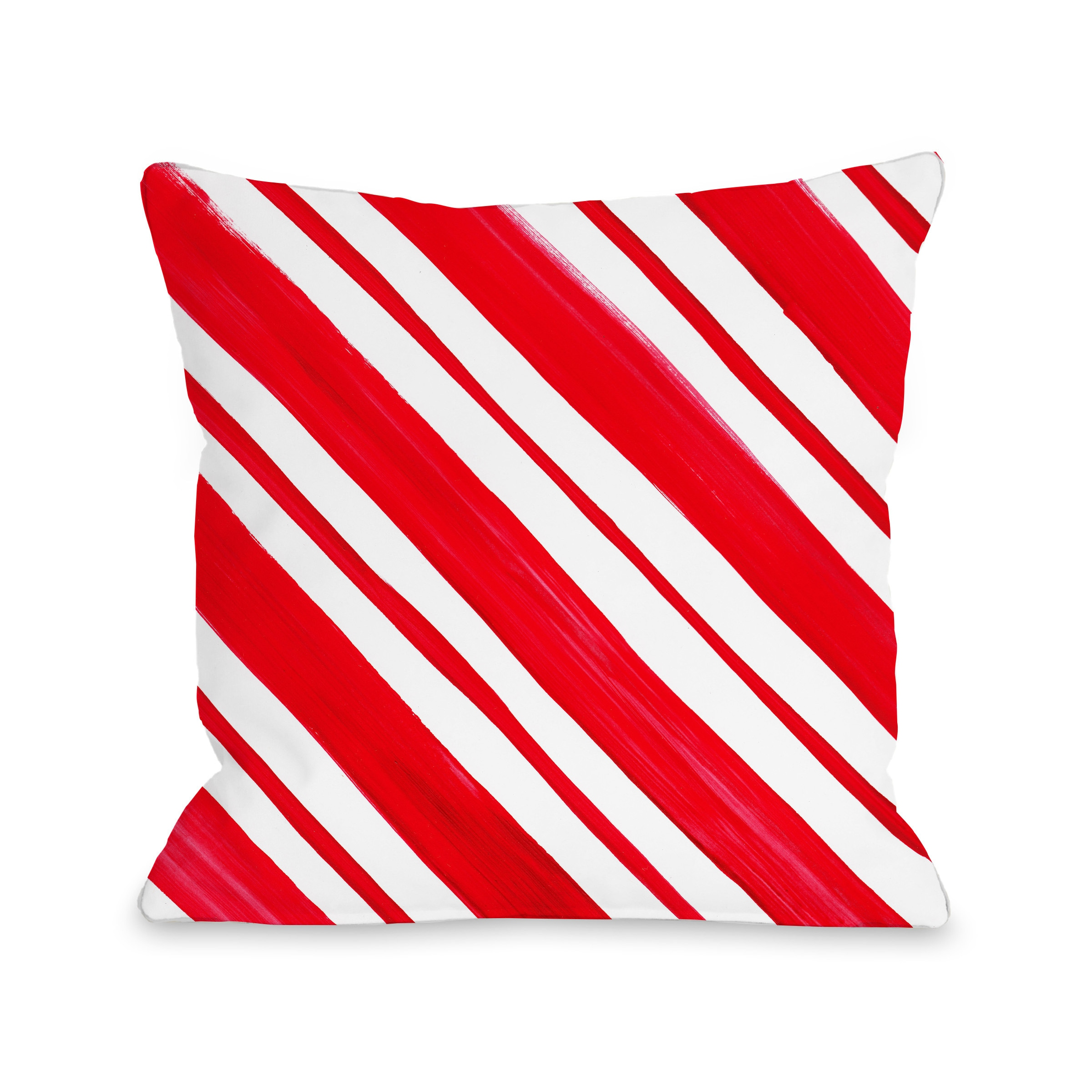 One Bella Casa Timree Gold Candy Stripe Red Microfiber Throw Pillow