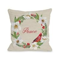 OBC Cardinal Wreath 'Peace' Tan Microfiber Throw Pillow