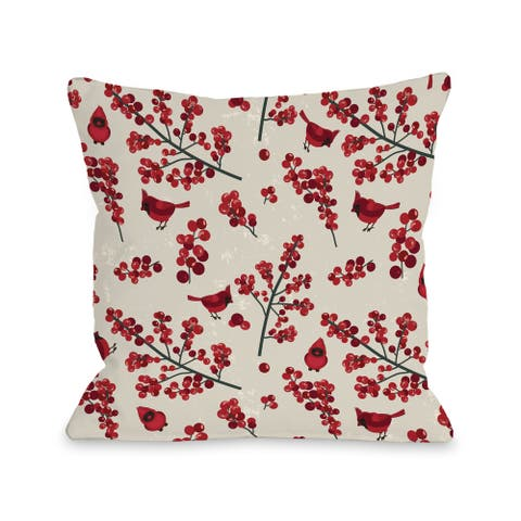 OBC Red/Tan Cardinal Pattern Throw Pillow