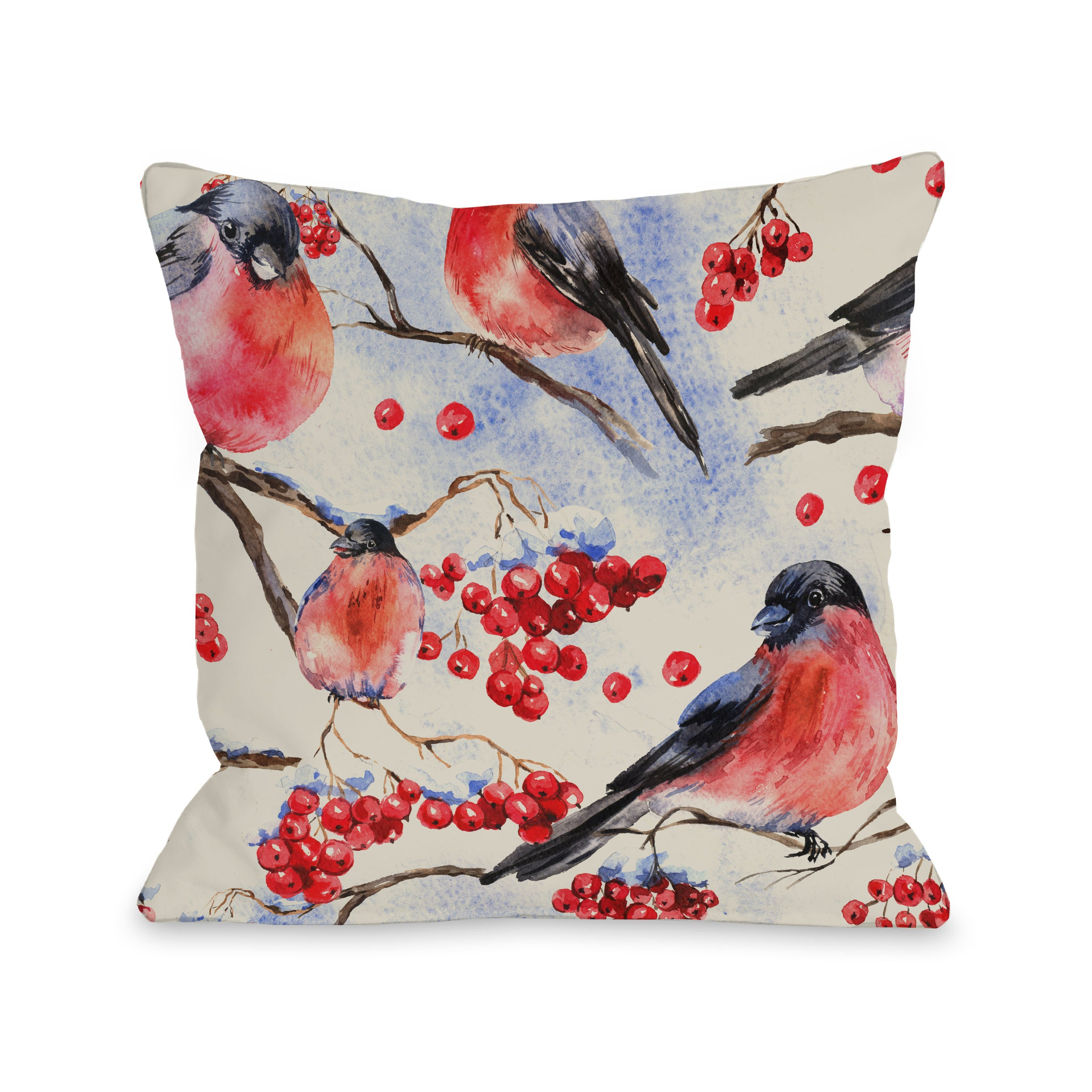 One Bella Casa Bullfinch Pattern Multicolor Microfiber 16 or 18-inch Throw Pillow (16 x 16)
