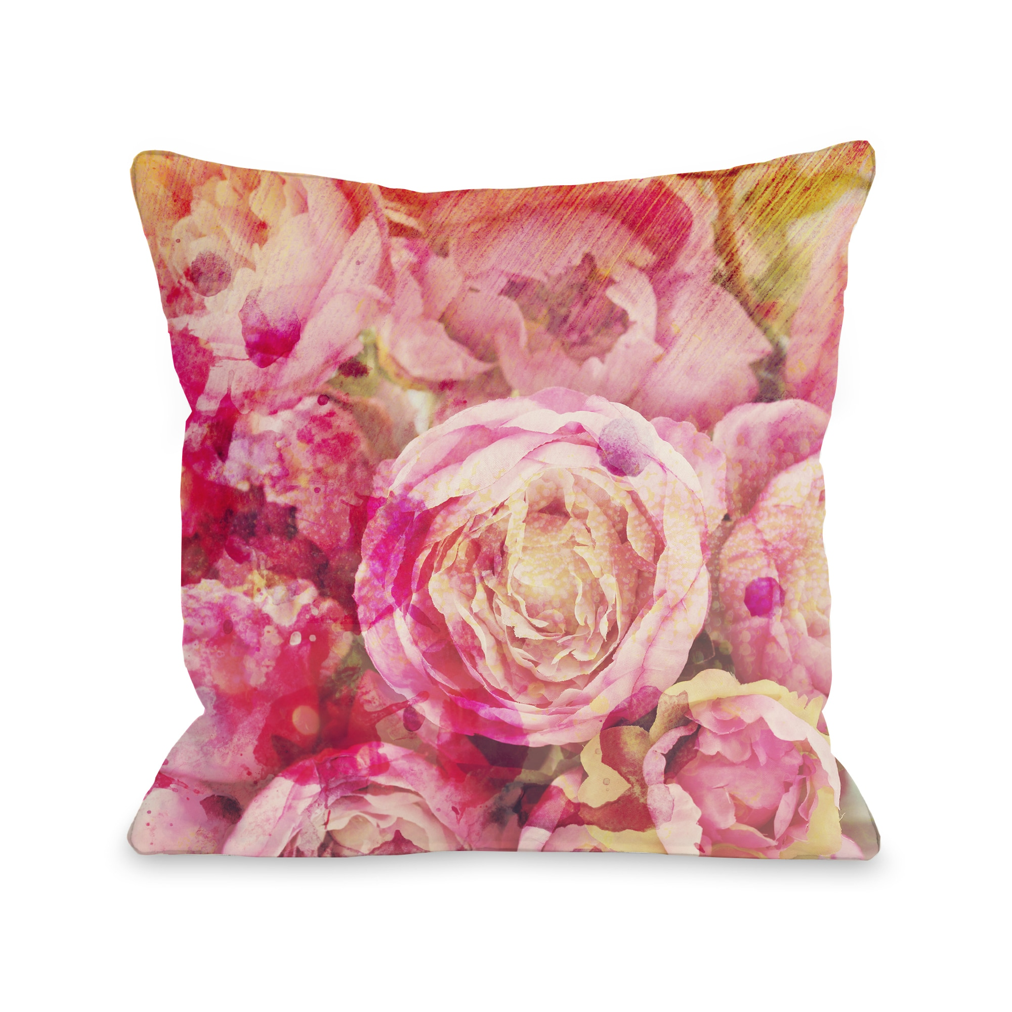 OBC Peony Dreams Multicolored Floral Throw Pillow (16 x 16)