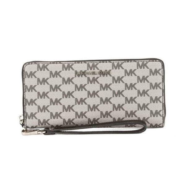 1f4db0770440 Shop Michael Kors Jet Set Travel Logo Continental Black Wristlet ...