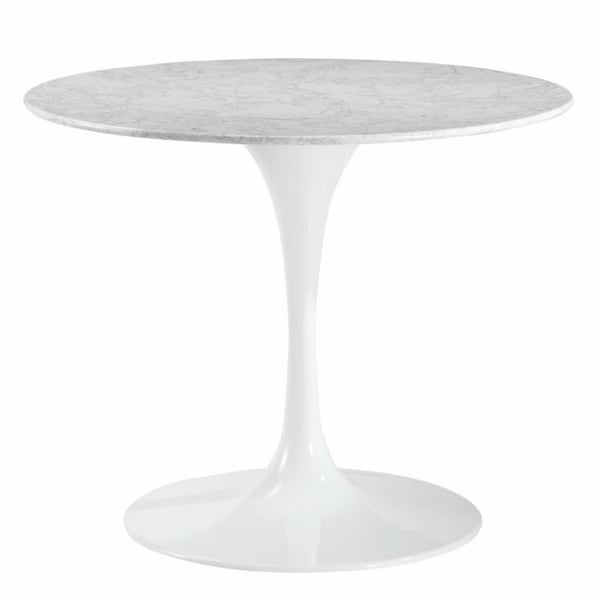 """Daisy 36"""" Artificial Marble Dining Table in White"""
