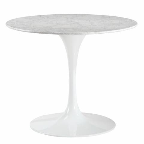 "Daisy 36"" Artificial Marble Dining Table in White"