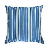 18-inch Indoor/Outdoor Cala Sapphire Stripes in Blue - Throw Pillow (Set of 2)