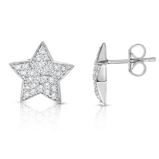 Noray Designs 14K White Gold Diamond (0.60 Ct, G-H Color, SI2-I1 Clarity) Star Earrings - White G-H