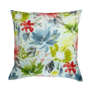 18-inch Indoor/Outdoor Island Hawaiian Beach Tropical Colorful Watercolor Flowers in Sky Blue - Throw Pillow (Set of 2)