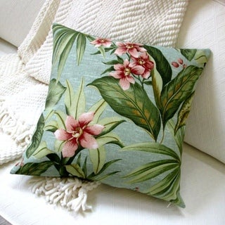 18-inch Indoor/Outdoor Island Hawaiian Beach Bahamian Tropical Palm and flowers in Green - Pillow Cover Only (Set of 2)