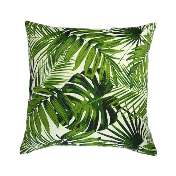 18-inch Indoor/Outdoor Island Hawaiian Beach Bahamian Tropical Botanics Green Palm Leaves - Throw Pillow (Set of 2)
