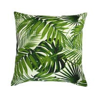 18-inch Indoor/Outdoor Island Hawaiian Beach Bahamian Tropical Botanics Green Palm Leaves - Pillow Cover Only (Set of 2)
