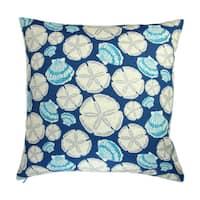 Artisan Pillows 18-inch Indoor/Outdoor Beach House Sea Sand Dollar in Indigo Blue - Pillow Cover Only (Set of 2)