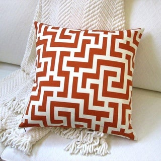 Artisan Pillows 18-inch Indoor/Outdoor Modern Geometric Garden Maze in Orange Brown Caramel - Throw Pillow (Set of 2)