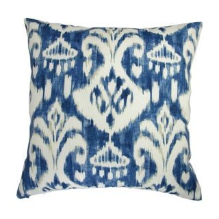Artisan Pillows 18-inch Indoor/Outdoor Modern Geometric Ikat Print in Indigo Blue - Throw Pillow (Set of 2)