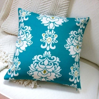 Artisan Pillows 18-inch Indoor/Outdoor Modern Geometric Damask Print in Peacock - Pillow Cover Only (Set of 2)