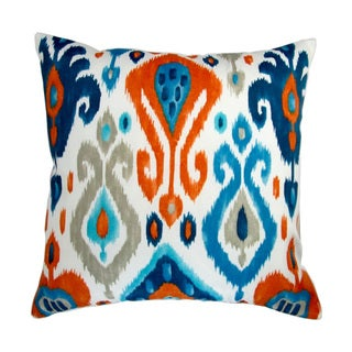 Artisan Pillows 18-inch Indoor/Outdoor Modern Colorful Orange Blue Grey Ikat Geometric Pattern - Throw Pillow (Set of 2)