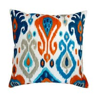Artisan Pillows 18-inch Indoor/Outdoor Modern Colorful Orange Blue Grey Ikat Geometric Pattern - Pillow Cover Only (Set of 2)