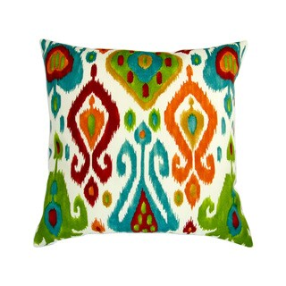Artisan Pillows 18-inchIndoor/Outdoor Modern Colorful Orange Red Teal Ikat Geometric Pattern - Throw Pillow (Set of 2)