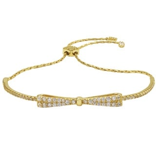 Luxiro Gold Finish Sterling Silver Cubic Zirconia Children's Bow Bracelet - White