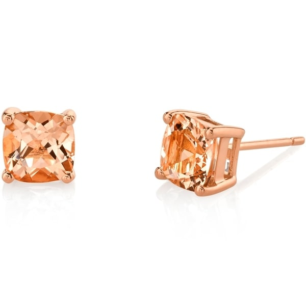 Oravo 14K Rose Gold Cushion Cut 1.50 Carats Morganite Stud Earrings