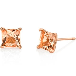 Oravo 14K Rose Gold Princess Cut 2.00 Carats Morganite Stud Earrings