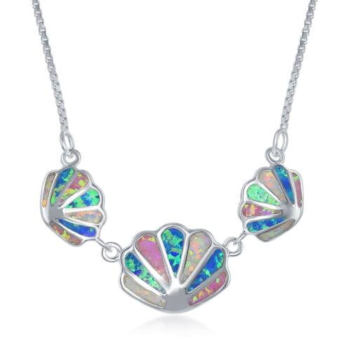 """La Preciosa Nautical Sterling Silver 18+1"""" White, Pink and Blue Inlay Opal Triple Sea Shell Charms Necklace"""