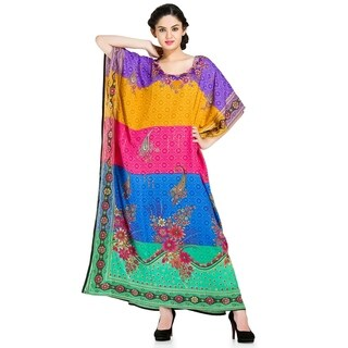 Trendsetting Colorful African Long Floral Print Caftan Cover Up Dress