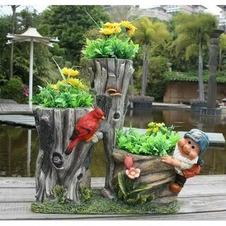 SINTECHNO SNF91090-1 Gnome with Little Bird on Tree and Flower Pot Planters