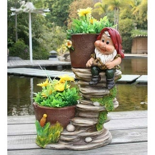 SINTECHNO SNF91089-1 Gnome on Staircase with Flower Pot Planters