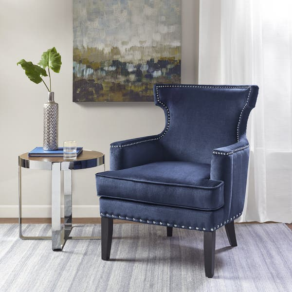 Shop Madison Park Melody Blue Accent Chair - Free Shipping ...