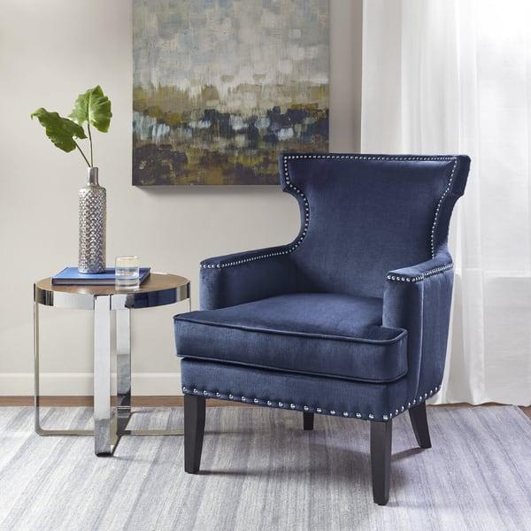 Sensational Shop Madison Park Melody Blue Accent Chair Free Shipping Machost Co Dining Chair Design Ideas Machostcouk