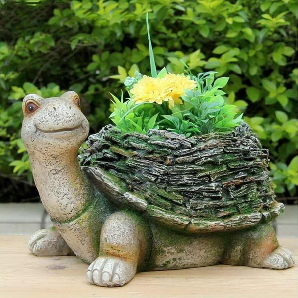 Sintechno Snf36140 Turtle With Moss Covered Flower Pot Planter