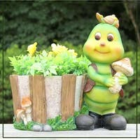 SINTECHNO SNF50012-1 Green Caterpillar Sculpture with Flower Pot Planter